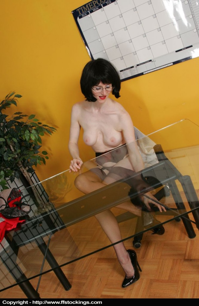 office8p59 666x1024 Its been a busy week in my seamed stockings
