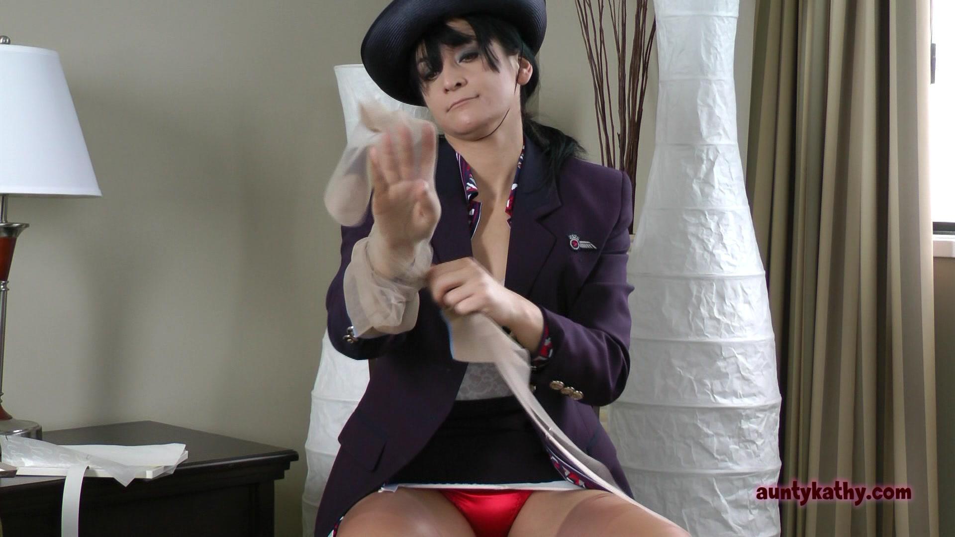 Milf stewardess in stockings